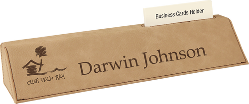 """Light Brown Leatherette Desk Wedge with Business Card Holder 10 1/2"""""""
