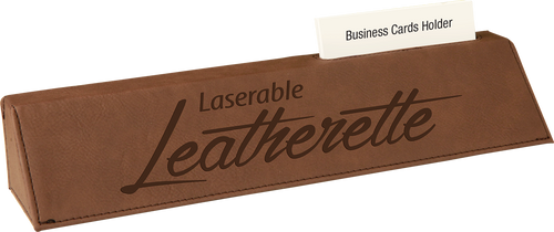 """Dark Brown Leatherette Desk Wedge with Business Card Holder 10 1/2"""""""