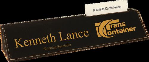 "Black Leatherette Desk Wedge with Business Card Holder 10 1/2"""