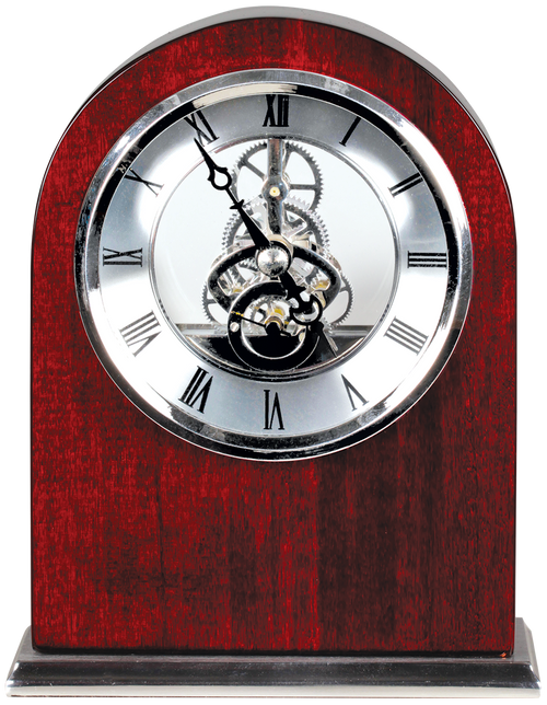 Rosewood Piano Finish Arch Clock with Silver Trim 6 1/4""