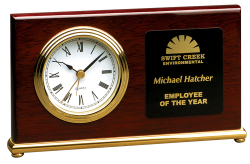 Rosewood Piano Finish Horizontal Desk Clock with Gold Trim
