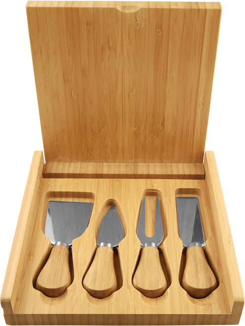 Genuine Bamboo Cheese Set with 4 Stainless Steel Tools