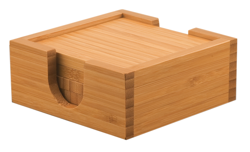 "Genuine Bamboo Square 4-Coaster Set 4"" x 4"""