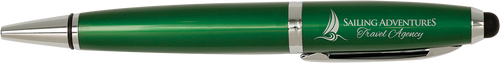 Gloss Wide Barrel Pen with Stylus & Silver Trim - JLP844