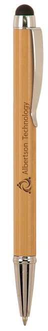 Genuine Bamboo Ballpoint Pen with Stylus & Silver Trim