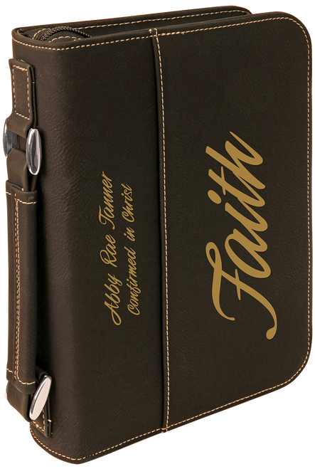 Leatherette Book/Bible Cover w/Zipper & Handle - JGFT287