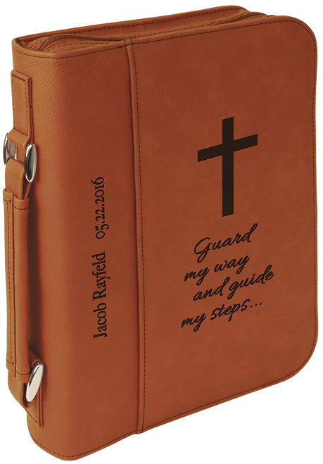Leatherette Book/Bible Cover w/Zipper & Handle - JGFT298