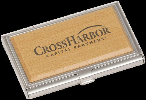 Metal & Wood Business Card Holder