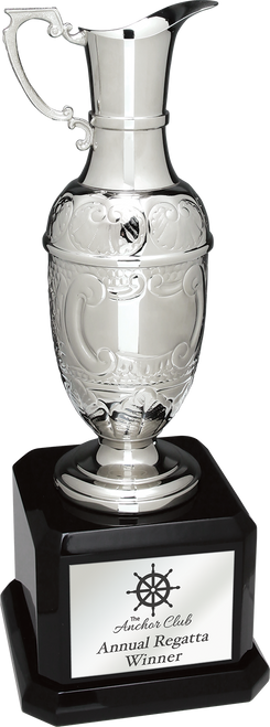 Swatkins Silver Hand-Crafted Claret Jug on Black Royal Base