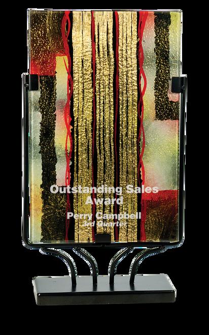 Rectangular Art Glass / Iron Base