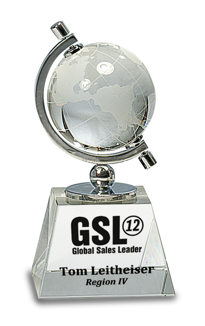 Crystal Spinning Globe on Clear Base