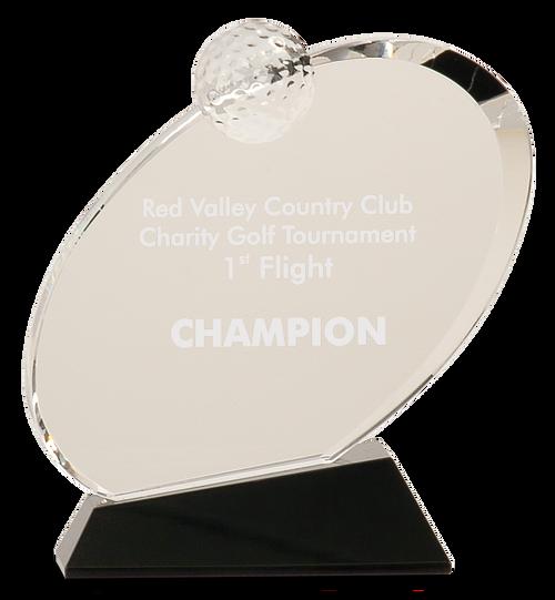 Clear Crystal Oblong Golf Award on Black Crystal Base