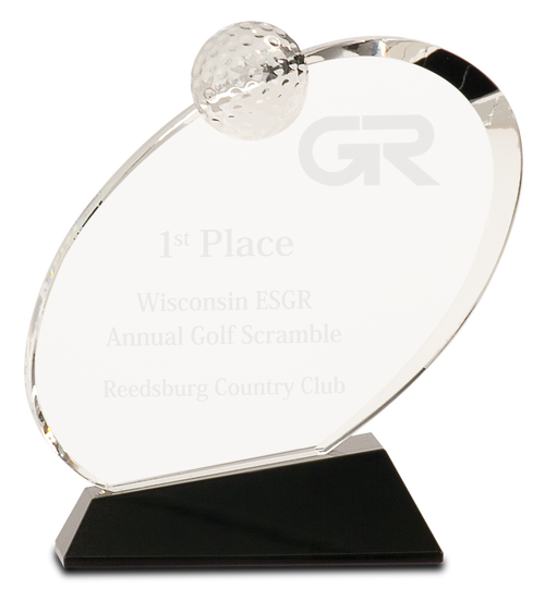 Clear Crystal Oblong Golf Award on Black Crystal Base - JCRY013M