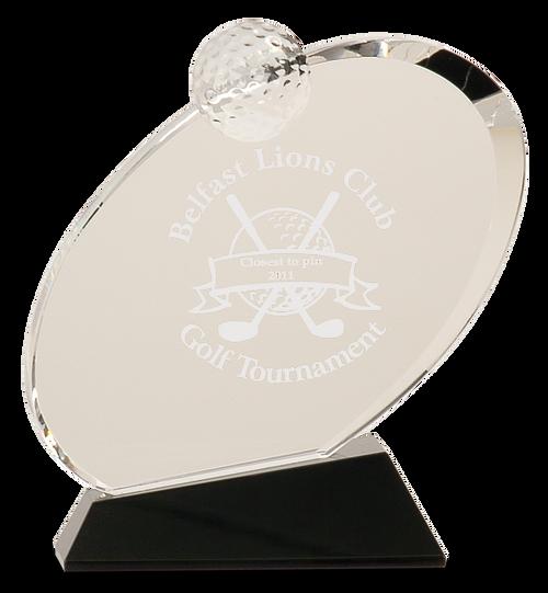 Clear Crystal Oblong Golf Award on Black Crystal Base - JCRY013S