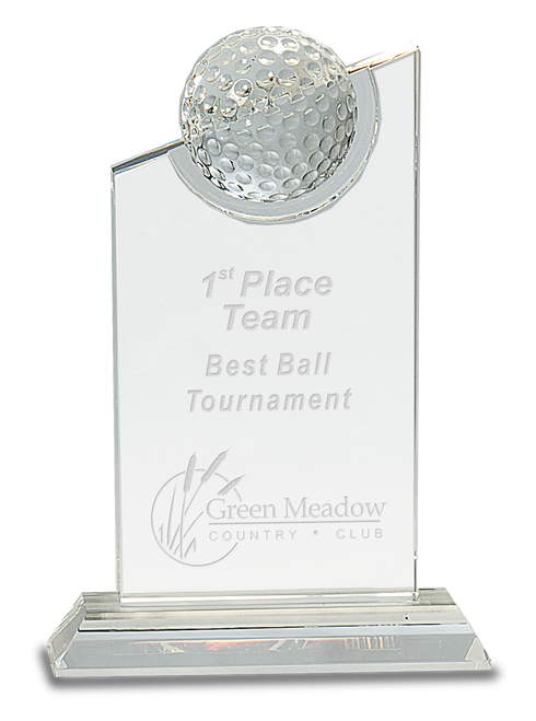 Clear Crystal with Inset Crystal Golf Ball on Clear Base - JCRY181