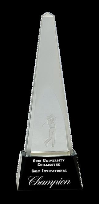 Clear Crystal 3D Golf Spire on Black Pedestal Base