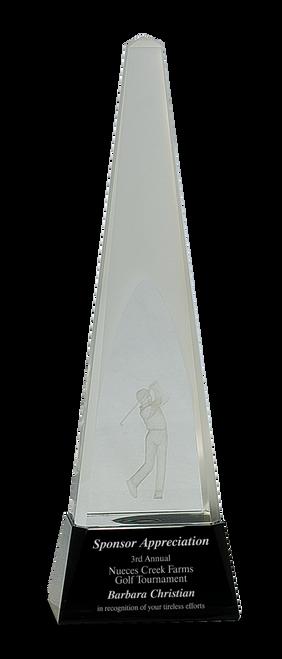 Clear Crystal 3D Golf Spire on Black Pedestal Base - JCRY054L