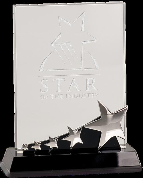 Rectangle Crystal with Silver Stars on Black Pedestal Base - JCRY140