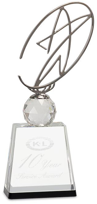 Clear/Black Crystal Award with Silver Metal Oval Star - JCRY172M