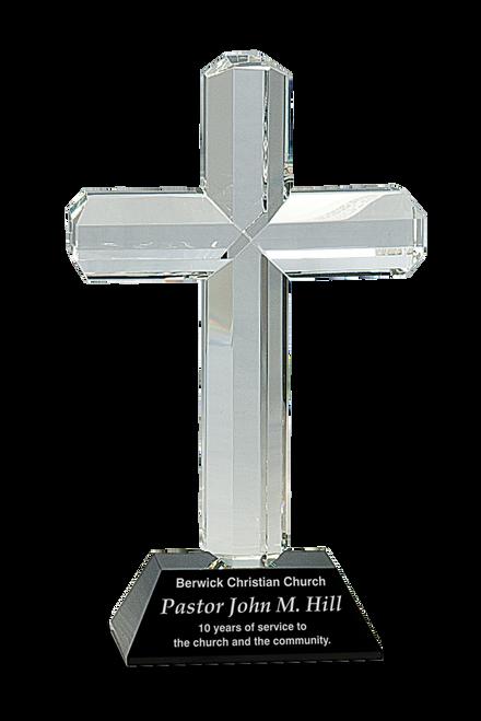 Crystal Cross on Black Pedestal Base