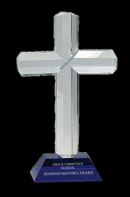 Crystal Cross on Blue Pedestal Base
