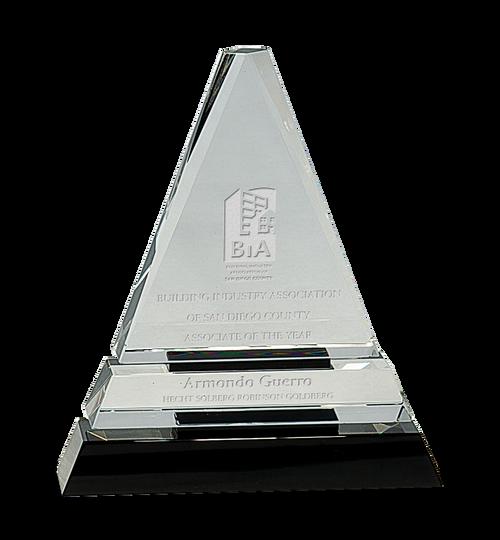 Clear Crystal Triangle on Black Crystal Pedestal Base - JCRY168M