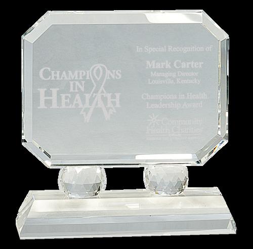 Rectangle Crystal on Clear Pedestal Base