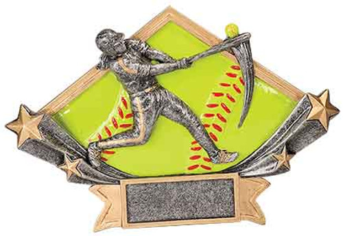 Female Softball Diamond Star Resin