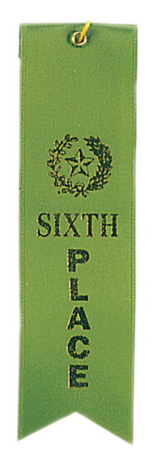 6th Place Green Carded Ribbon