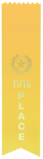 "5th Place Yellow ""PINKED Top"" Ribbon"