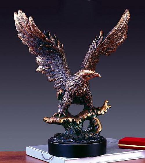 Large Bronze Eagle on Black Round Base