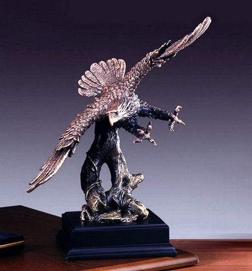 Banking Eagle on Black Rectangular Base