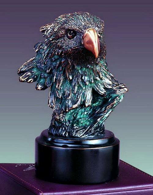 Small Eagle Head on Black Round Base