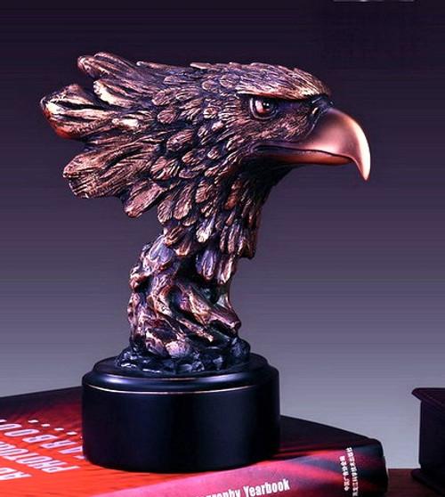 Large Eagle Head on Black Round Base