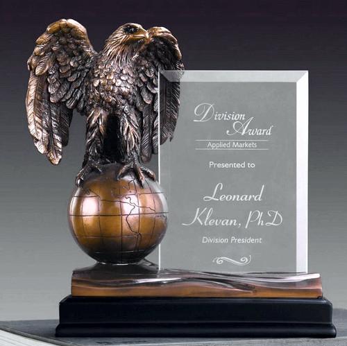 Eagle on Globe w/ Glass Imprint Award