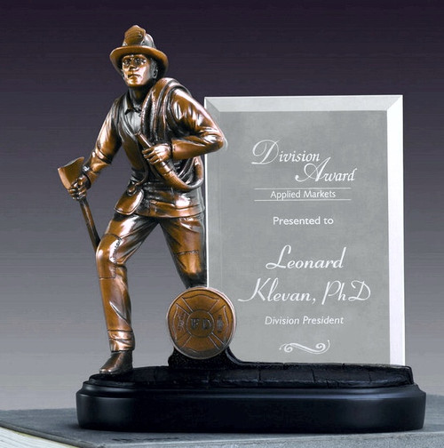Fireman w/ Glass Imprint Award