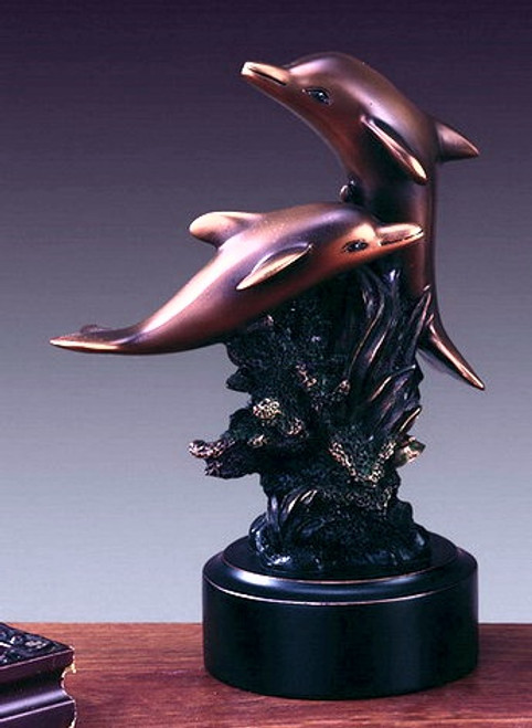 Copper Dolphins on Black Round Base