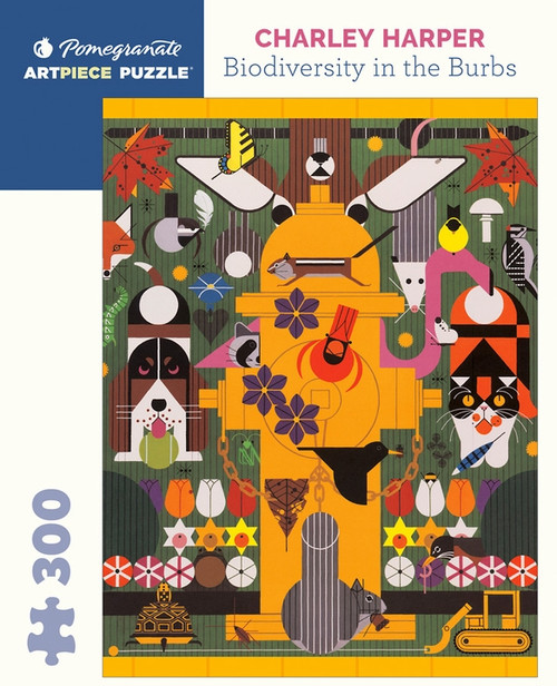 Biodiversity in the Burbs 300-piece Jigsaw Puzzle by Charley Harper