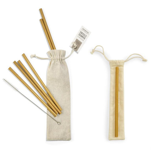 Set of 6 bamboo drinking straws with pouch