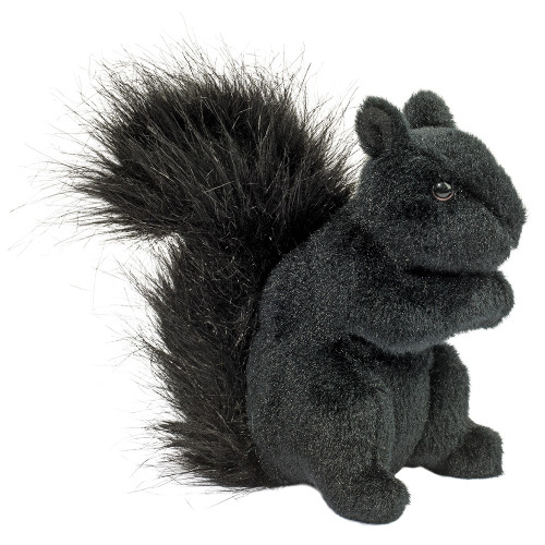 Children's plush stuffed animal, a black squirrel