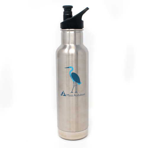 Mass Audubon Klean Kanteen Stainless Steel Water Bottle with Sport Cap, Great Blue Heron design