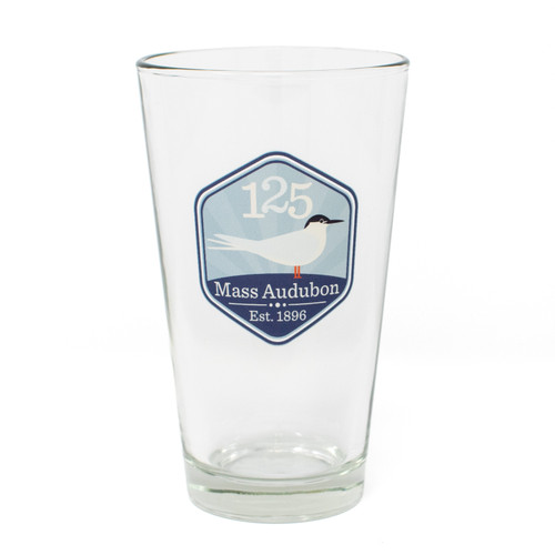 Pint glass with the Mass Audubon 125th Graphic