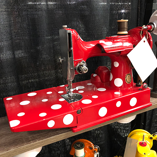 1948 Singer Featherweight 221, Bright Red with White Polka Dots, Elizibethport, NJ