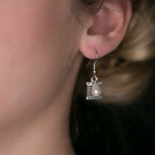 Thread Spool with Pearl Earrings