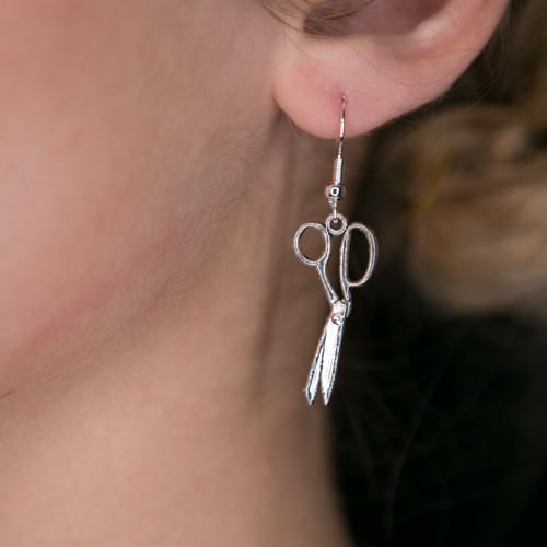 Fabric-Only Scissor Earrings