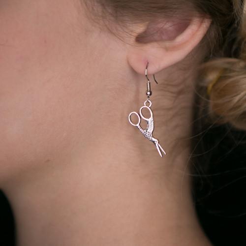Vintage Crane Scissor Earrings