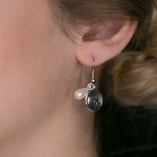 Silver Button with Pearl Earrings