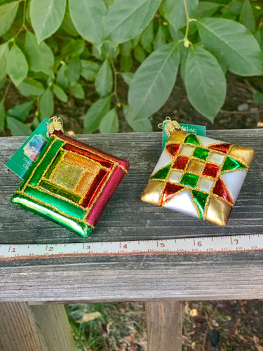 Quilt Block Glass Blown Ornaments