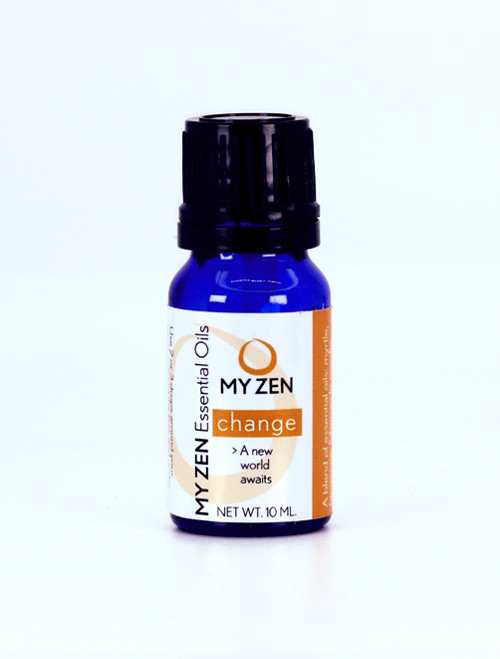"""Everyone knows that the only constant in life is change, and that the stress it causes can often take a toll on spirit and body. Change Essential Oil, developed by Dr. Martha Lucas L.Ac., can help.  It enlists the """"essence"""" of plants that have been used medicinally for a very long time to help reduce stress and fear. With it, the promise of a new world awaits.   A formula that can help you cope with change: * Made from a blend of myrtle, chen pi/tangerine, fir needle, ru xiang/frankincense, tagetes, and cypress that allows us to feel like a fresh breeze is coming into our lives.  * The Siberian fir needle helps prepare us for the beginning of change * The tagetes fortifies our choice to move toward our highest good * The chen pi/tangerine, ru xiang/frankincense, and cypress help us enjoy moving through a new world.   To Use: Put 2 or 3 drops around your navel, soles of your feet, and under your nose or near your clavicle.    We know that reducing the emotional stress of change will even help treat acne - even the stress or """"mask acne"""" that people (yes, teens) are having right now."""
