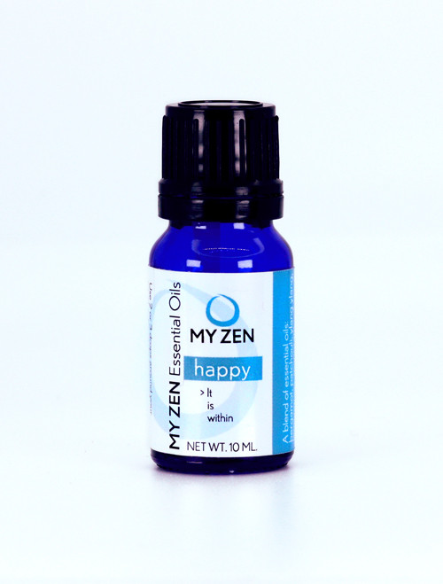 My Zen Happy Essential Oil Blend  Formulated to uplift mode reign in depression, and bring forth the dormant happiness locked within, Happy Essential Oil Blend by Dr. Martha Lucas, L.Ac., fuses the essence of powerful plants that have been used medicinally for a very long time to help balance mood and bring our your innate happiness!    A blend of several ingredients that make it work for you include: + Honeysuckle, marjoram, and patchouli essential oils uplift mood and relieve depression + Lemongrass elicits happiness + Orange bergamot and ylang ylang inspire love of self + Dr. Lucas adds 3 drops of peppermint for spirit, mind, and body   To use put 2 or 3 drops around your navel, on the soles of your feet, and near your clavicle so you can enjoy and benefit from the blend.